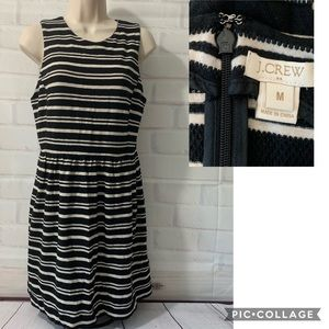J. Crew Cream and Black Striped Knit Dress